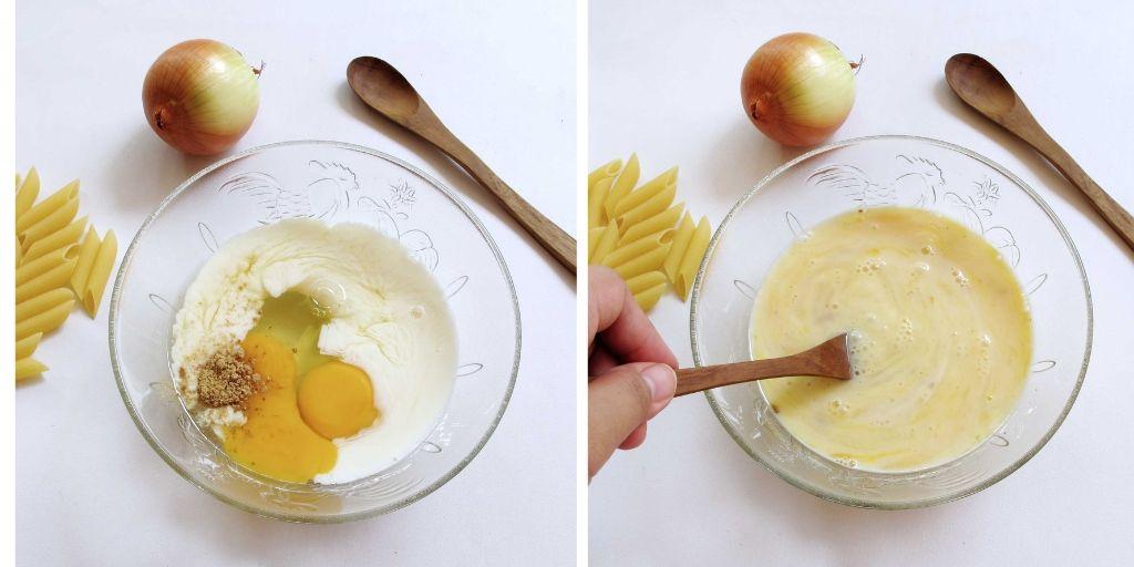 susu telur dan penyedap rasa yang sudah diaduk rata