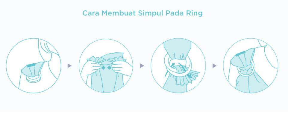 cara membuat simpul pada ring gendongan bayi