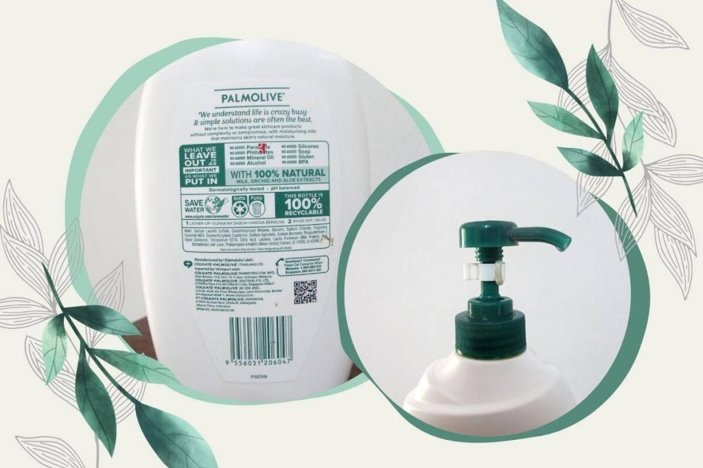 kemasan botol dan pump sabun Palmolive shower milk